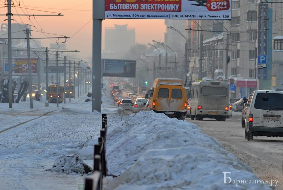 Утренняя пробка в Барнауле